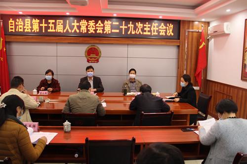 隆林各族自治县第十五届人大常委会召开第二十九次主任会议
