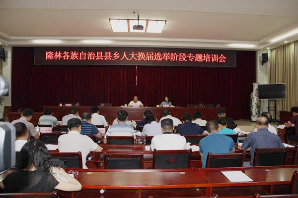 隆林召开县乡人大换届选举阶段专题培训会